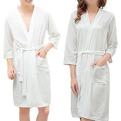 Opromo Adults Unisex Kimono Waffle Hotel Bathrobe Spa Robes for Men and Women