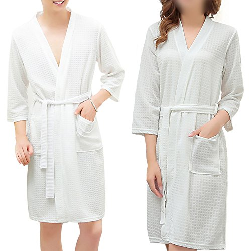 d4163c76cd Opromo Adults Unisex Kimono Waffle Hotel Bathrobe Spa Robes for Men and  Women