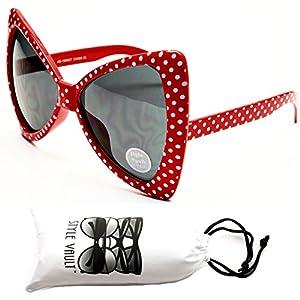 Wm529-vp Cateye Butterfly Oversized Sunglasses (S1119V Red/White Dots, uv400)