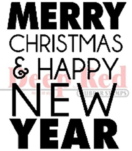 Deep Red Stamps Merry Christmas Happy New Year Rubber Stamp