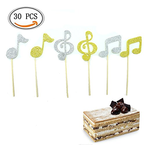 IDS-Music-Cake-Toppers-Music-Symbols-Notes-Cupcake-Toppers-for-Birthday-Party-Decor-Gold-Silver-30-Pcs