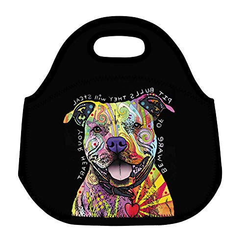 ZMvise Custom Pit Bull Dog Beware of Pit Bulls They Will Steal Your Heart Lunch Tote Insulated Reusable Picnic Bags Boxes Men Women Youth Teens Nurses Travel Bag ()
