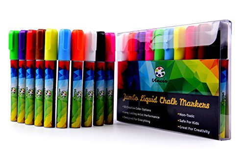 Vinci's Secret Liquid Chalk Marker Set, 10 Dry Erase Window Markers For Whiteboard Coloring