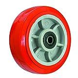 BIL BZMM80WPURB Series WPUR Wheel, Polyurethane On Polypropylene, 80 mm Diameter, 30 mm Tread, 40 mm Hub, 12 mm Bore, 80 kg Load, Red