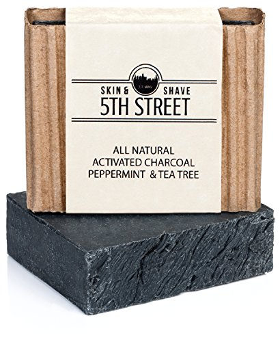 Activated Charcoal Soap for Men with Peppermint and Tea Tree – 5th Street Skin & Shave - Natural, Anti-Fungal, Organic Mens Soap – Reduces Mens Acne, Blemishes, Breakouts for Clearer Skin