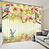 """Newrara Pink Peach Flowers and Blue Butterflies Print 3D Blackout Curtain 2 Panels For Living Room&Bedroom,Free Hook Included (104W84""""L, yellow)"""