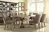 Industrial Contemporary Dining Table Set in Weathered Oak (Rectangular Table & 6 Chairs) offers