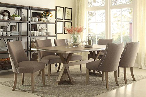 Industrial Contemporary Dining Table Set in Weathered Oak (Rectangular Table & 4 Chairs)