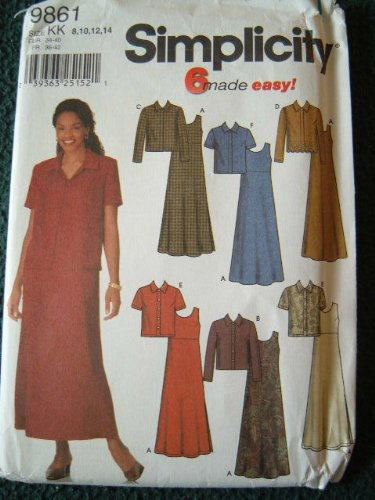 Simplicity Pattern 9861 Misses' Jacket and Pullover A-Line Dress or Jumper, Size KK (Simplicity A-line)