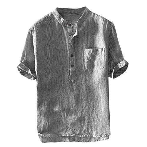 Men Shirts Breathable Cotton Linen Short Sleeve Button up Pocket T Shirt Blouse Mens Comfy Solid Color Tunic Tops