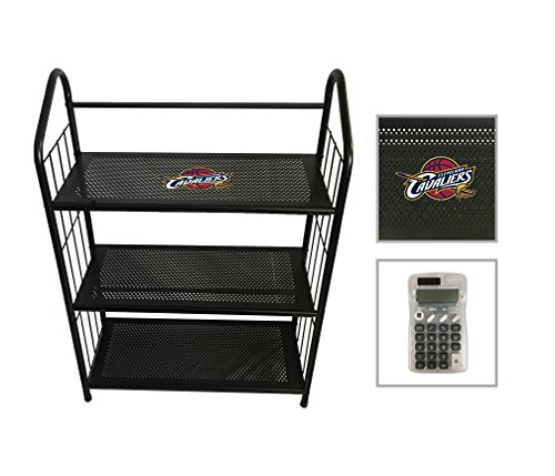 3 Tier Black Metal Finish Free Standing Shelf with the Choice of Your Favorite Sports Team Logo (Cavaliers) - FREE Handheld Calculator Included by The Furniture Cove