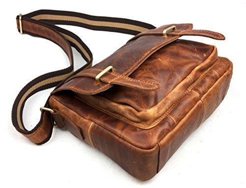 insum bolso de piel Crazy Messenger Horse hombre para Bag Rojo transversal Red fxfXRwqr
