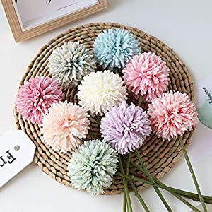 Homyu Artificial Chrysanthemum Ball Flowers Bouquet 10pcs Present for Important People Glorious Moral for Home Office Coffee House Parties and Wedding 4