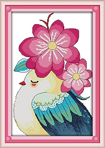 (Full Range of Embroidery Starter Kits Stamped Cross Stitch Kits Beginners for DIY Embroidery (Multiple Pattern Designs) - Bird and Flowers )