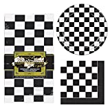 TwiceBooked Checkered Racing Party Decoration Bundle - Table Cover, Paper Plates and Napkins
