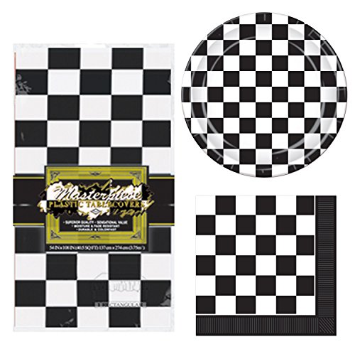 TwiceBooked Checkered Racing Party Decoration Bundle - Table Cover, Paper Plates and (Checkerboard Flag)
