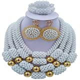 aczuv African Beads Necklace Jewelry Nigerian Wedding Set Crystal Bridal Jewelry Sets