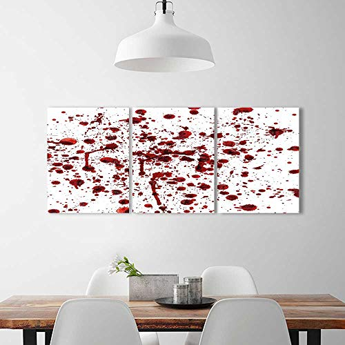 Analisahome 3 Pieces Multiple Pictures Wall Art Frameless Blood Grunge Style Bloodstain Horror Scary Zombie Halloween Themed Print Red White Perfect Wall Decoration -