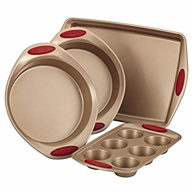 Rachael Ray Cucina 4-Piece Bakeware Set, Latte Brown with Cranberry Red Handle Grips