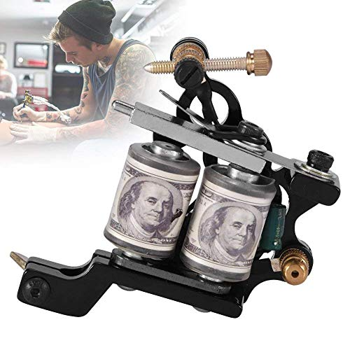 Tattoo Machine Metal Gun with Pins Tubes Grips 10 Warp Coils Liner Shader CNC Carved Frame professional for Tattoo Artists