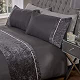 Sienna Luxury Crushed Velvet Diamante Band Duvet Cover with Pillowcase Shimmer Bedding Set, Charcoal Grey - King