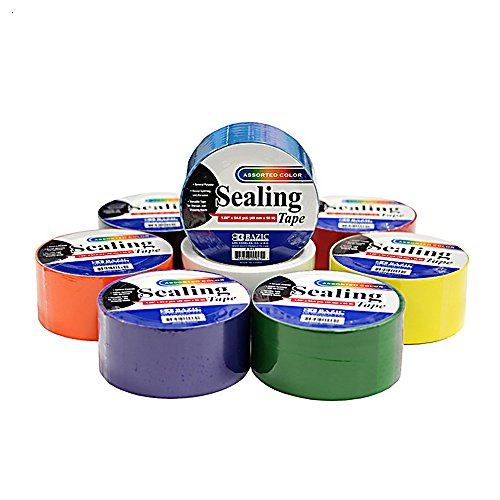 "8 Colored Sealing Tape Set - 1.88"" x 164"" Feet/Roll - Including Black, White, Orange, Green, Purple, Red and Blue Roll of Tape - for Crafts, Packing and More"