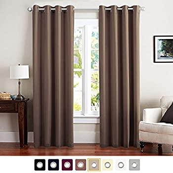 Vangao Brown Blackout Curtains Room Darkening Thermal Insulated Solid  Grommet Top Window Draperies/Drapes/