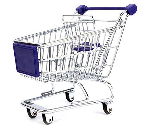 CRBoutique Mini Desktop Desk Top Organizer Shopping Cart (Blue)