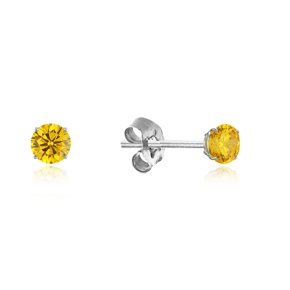 925 Sterling Silver Rhodium Plated Birth Month 3mm Cubic Zirconia Stud Friction Girls Pushback Earrings
