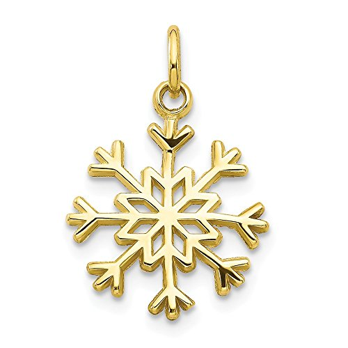 - Jewelry Pendants & Charms Themed Charms 10k Solid Polished Snowflake Charm