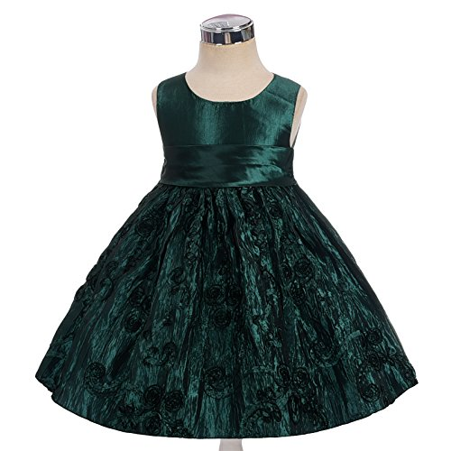 Dressy Daisy Girls' Crushed Taffeta Rosette Pageant Wedding Flower Girl Dresses Size 10 Dark Green (Christmas Pageant Dresses)