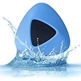 BILIFUN Mini Wireless Speaker, Waterproof IP66 Portable Bluetooth Speaker with Suction Cup for Bathroom Shower Car Stereo Indoor/Outdoor Hands-free,Blue