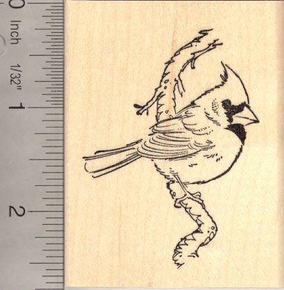 Cardinal Bird on Branch - Beautiful Rubber Stamp