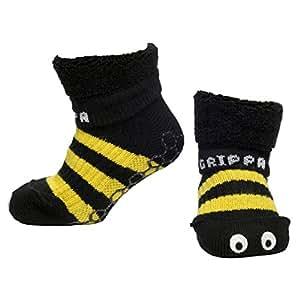 """""""GRIPPA"""" calcetines antideslizantes para niños con diseño de abeja. Hechos en Gran Bretaña y aprobado por los principales expertos en la salud del pie del Reino Unido"""