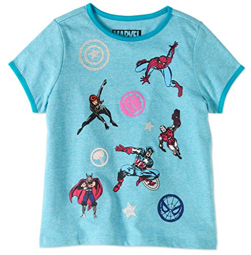 Price comparison product image Marvel Big Girls' Screen Patch Ringer T-Shirt, Blue Heather, M
