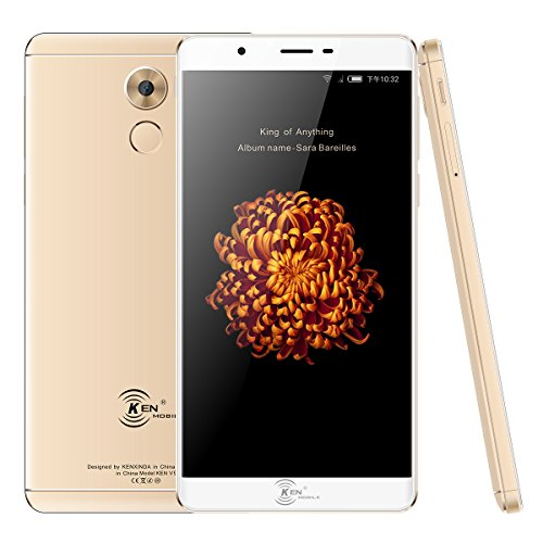 """Price comparison product image KEN XIN DA V9 Smartphone Unlocked,  6.0"""" 16GB / 2GB 4G LTE GSM 13+8MP-Fingerprint Cell Phone (AT&T / T-Mobile) (Gold)"""