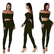 Jushye Hot Sale!!! Women's Tracksuit, Ladies Off Shoulder Fashion Split 2 Piece Set Casual Bodycon Casual Outfit Sportswear