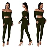 Jushye Hot Sale!!! Women s Tracksuit, Ladies Off Shoulder Fashion Split 2 Piece Set Casual Bodycon Casual Outfit Sportswear (Black, M)