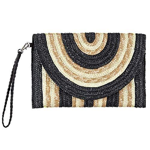 Mud Pie Striped Straw Envelope Clutch Bag (Black-Tan-Natural)
