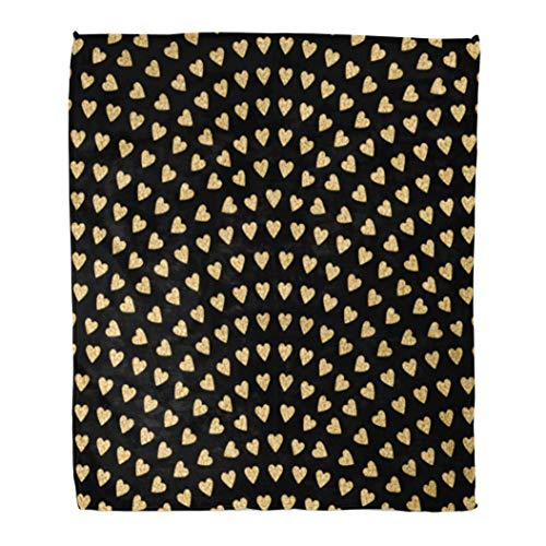 t Warm Cozy Print Flannel Fancy Abstract Wavy Pattern Geometrical Fish Scale Gold Hearts on Dark Fan Comfortable Soft for Bed Sofa and Couch 50x60 Inches ()