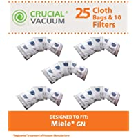 25 Replacements for Miele GN Cloth HEPA Style Bags, 5 Motor & 5 Air Filters Fit S400i-S456i, S600-S658, S800-S858 & S5000-S5999, Compatible With Part # 10123210, by Think Crucial