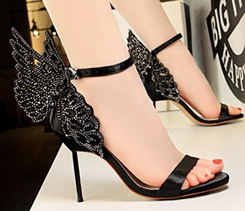 Ailes Femme Discothèque Black Hauts Strass Aiguilles Banquet Chaussures Sandales Talons LINYI Talons 8aqxB5Fn