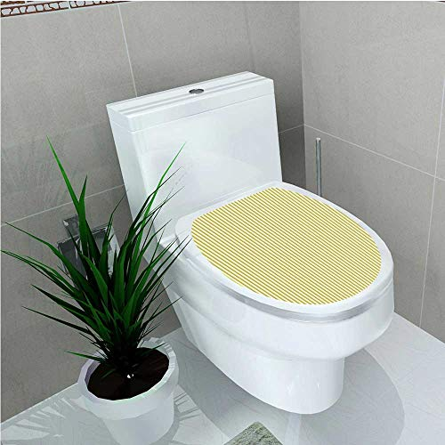 aolankaili Bathroom Toilet Yellow Circus Tent Inspired Vintage Retro Stripes Modern Image Light Yellow Beige and W14 x L16