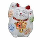 Jpanese traditional ceramic Kutani ware. Lucky charm ornament. Beckoning cat. White mori. With paper box. ktn-K5-1574