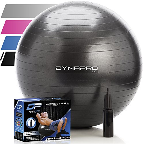 Exercise Ball with Pump- Gym Quality, Anti-Burst, Anti-Slip (Black, 75 centimeters) Fitness Ball by DynaPro Direct. More colors and sizes available aka Yoga Ball, Swiss Ball (Excersize Chair Desk)