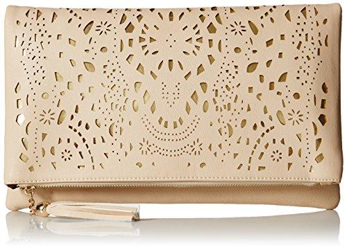 BMC da donna perforato oro tagliata Accent impuntura colore Fashion frizione borsa Bianco (Creamy Beige)