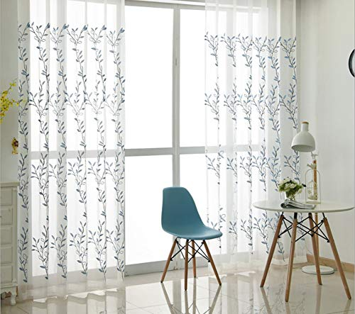 BW0057 Modern Simple Style White Vine Pattern Embroidery Sheer Curtain Rod Pocket Home Decoration Panel Transpaent Voile Drape for Bedroom Living&Kids Room(1 Panel, W 50 x L 102 inch, White)