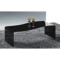 Creative Images International Glass Collection Bent Glass Coffee Table with Wave Shape, Black