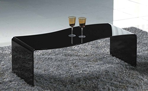 Creative Images International Glass Collection Bent Glass Coffee Table with Wave Shape, Black - Neo Classic Cocktail Table