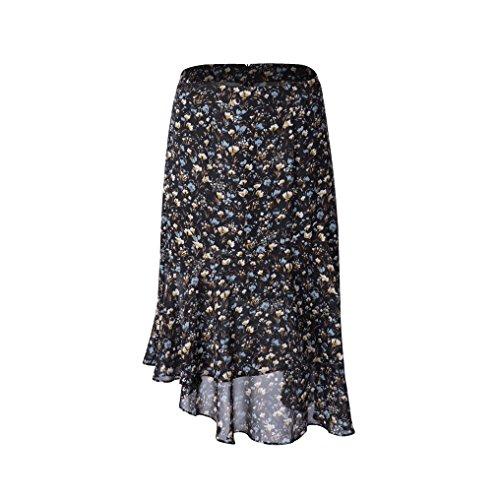 Tronjori Womens A Line Floral Print Skirt Flared Hem (L, Black sml Flower)